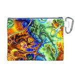 Abstract Fractal Batik Art Green Blue Brown Canvas Cosmetic Bag (XL) Back