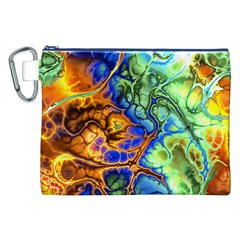 Abstract Fractal Batik Art Green Blue Brown Canvas Cosmetic Bag (XXL)