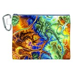 Abstract Fractal Batik Art Green Blue Brown Canvas Cosmetic Bag (XXL) Front