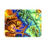 Abstract Fractal Batik Art Green Blue Brown Double Sided Flano Blanket (Mini)  35 x27 Blanket Back