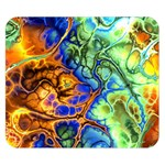 Abstract Fractal Batik Art Green Blue Brown Double Sided Flano Blanket (Small)  50 x40 Blanket Back