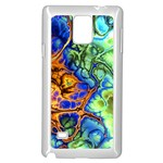 Abstract Fractal Batik Art Green Blue Brown Samsung Galaxy Note 4 Case (White) Front