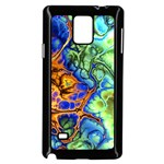 Abstract Fractal Batik Art Green Blue Brown Samsung Galaxy Note 4 Case (Black) Front
