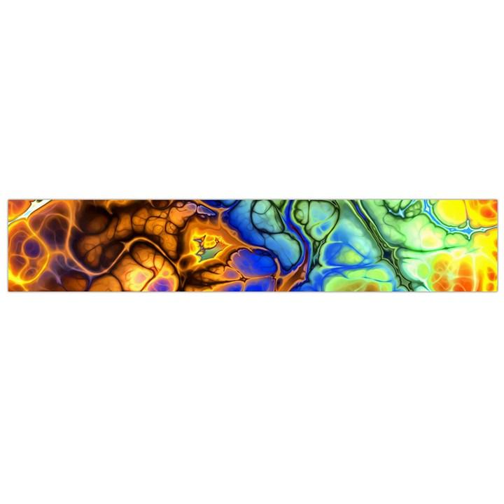 Abstract Fractal Batik Art Green Blue Brown Flano Scarf (Large)