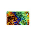 Abstract Fractal Batik Art Green Blue Brown Cosmetic Bag (XS) Front