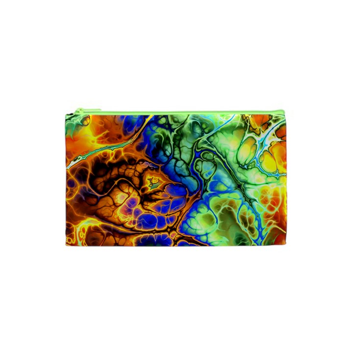 Abstract Fractal Batik Art Green Blue Brown Cosmetic Bag (XS)
