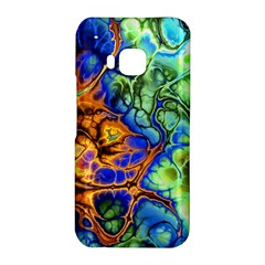 Abstract Fractal Batik Art Green Blue Brown HTC One M9 Hardshell Case