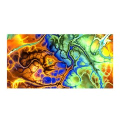 Abstract Fractal Batik Art Green Blue Brown Satin Wrap