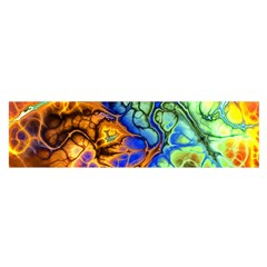 Abstract Fractal Batik Art Green Blue Brown Satin Scarf (Oblong)
