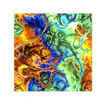 Abstract Fractal Batik Art Green Blue Brown Small Satin Scarf (Square) Front