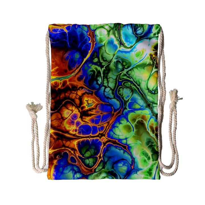 Abstract Fractal Batik Art Green Blue Brown Drawstring Bag (Small)