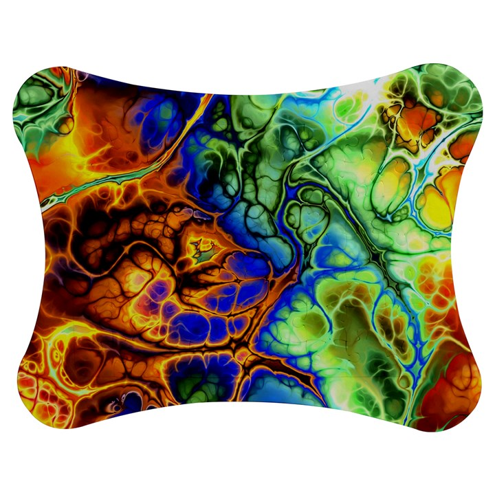 Abstract Fractal Batik Art Green Blue Brown Jigsaw Puzzle Photo Stand (Bow)