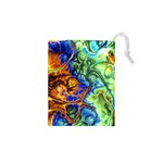 Abstract Fractal Batik Art Green Blue Brown Drawstring Pouches (XS)  Front