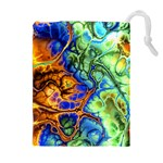 Abstract Fractal Batik Art Green Blue Brown Drawstring Pouches (Extra Large) Front