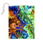 Abstract Fractal Batik Art Green Blue Brown Drawstring Pouches (Extra Large) Back