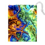 Abstract Fractal Batik Art Green Blue Brown Drawstring Pouches (XXL) Front