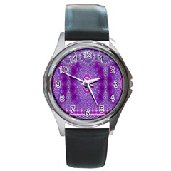 India Ornaments Mandala Pillar Blue Violet Round Metal Watch