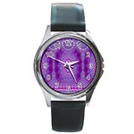 India Ornaments Mandala Pillar Blue Violet Round Metal Watch Front