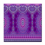 India Ornaments Mandala Pillar Blue Violet Tile Coasters Front