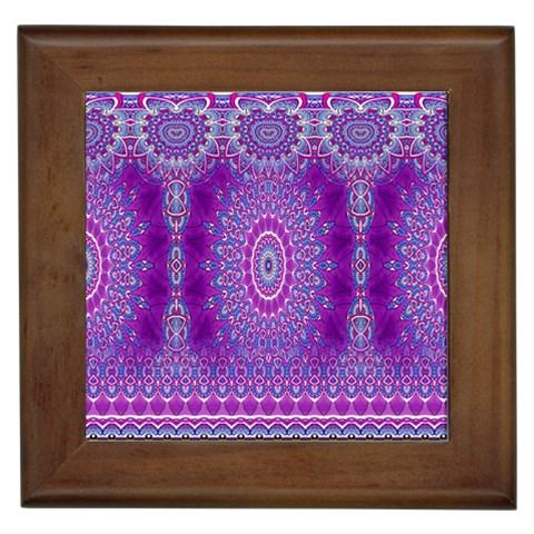 India Ornaments Mandala Pillar Blue Violet Framed Tiles