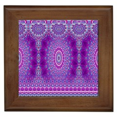 India Ornaments Mandala Pillar Blue Violet Framed Tiles