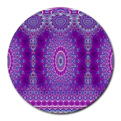 India Ornaments Mandala Pillar Blue Violet Round Mousepads