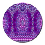 India Ornaments Mandala Pillar Blue Violet Round Mousepads Front