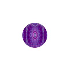 India Ornaments Mandala Pillar Blue Violet 1  Mini Buttons