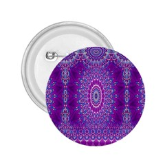 India Ornaments Mandala Pillar Blue Violet 2.25  Buttons