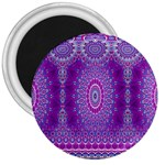 India Ornaments Mandala Pillar Blue Violet 3  Magnets Front
