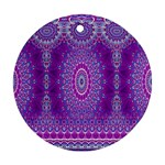 India Ornaments Mandala Pillar Blue Violet Ornament (Round)  Front