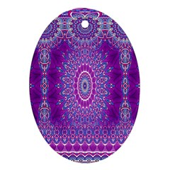 India Ornaments Mandala Pillar Blue Violet Ornament (oval)