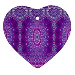 India Ornaments Mandala Pillar Blue Violet Ornament (Heart)  Front