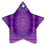 India Ornaments Mandala Pillar Blue Violet Ornament (Star)  Front