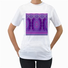 India Ornaments Mandala Pillar Blue Violet Women s T-Shirt (White) (Two Sided)