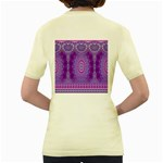 India Ornaments Mandala Pillar Blue Violet Women s Yellow T-Shirt Back