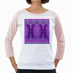 India Ornaments Mandala Pillar Blue Violet Girly Raglans