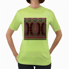 India Ornaments Mandala Pillar Blue Violet Women s Green T-Shirt