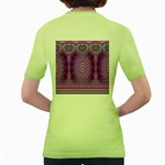 India Ornaments Mandala Pillar Blue Violet Women s Green T-Shirt Back
