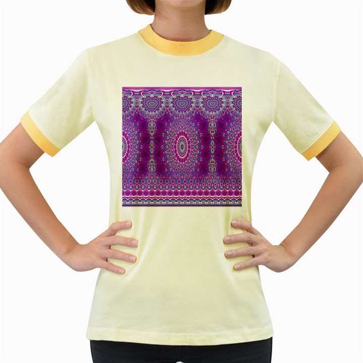 India Ornaments Mandala Pillar Blue Violet Women s Fitted Ringer T-Shirts