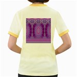 India Ornaments Mandala Pillar Blue Violet Women s Fitted Ringer T-Shirts Back