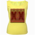 India Ornaments Mandala Pillar Blue Violet Women s Yellow Tank Top Front