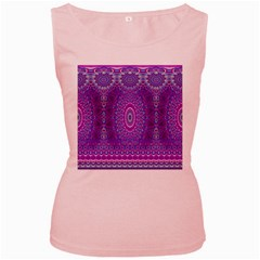 India Ornaments Mandala Pillar Blue Violet Women s Pink Tank Top
