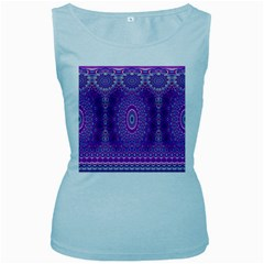 India Ornaments Mandala Pillar Blue Violet Women s Baby Blue Tank Top