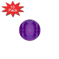 India Ornaments Mandala Pillar Blue Violet 1  Mini Buttons (10 pack)
