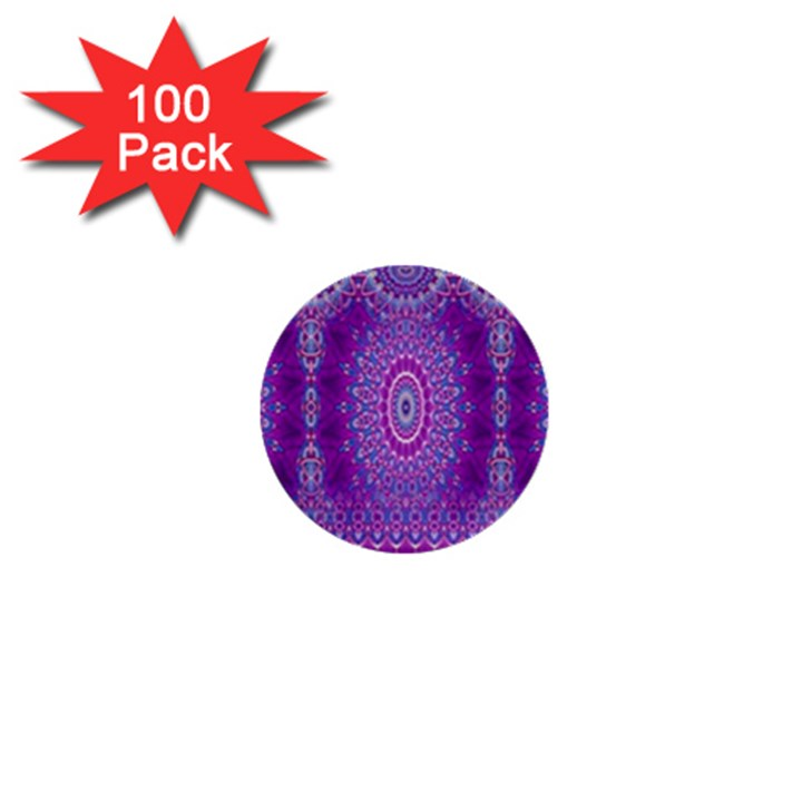 India Ornaments Mandala Pillar Blue Violet 1  Mini Buttons (100 pack)