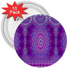 India Ornaments Mandala Pillar Blue Violet 3  Buttons (10 pack)