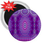 India Ornaments Mandala Pillar Blue Violet 3  Magnets (10 pack)  Front