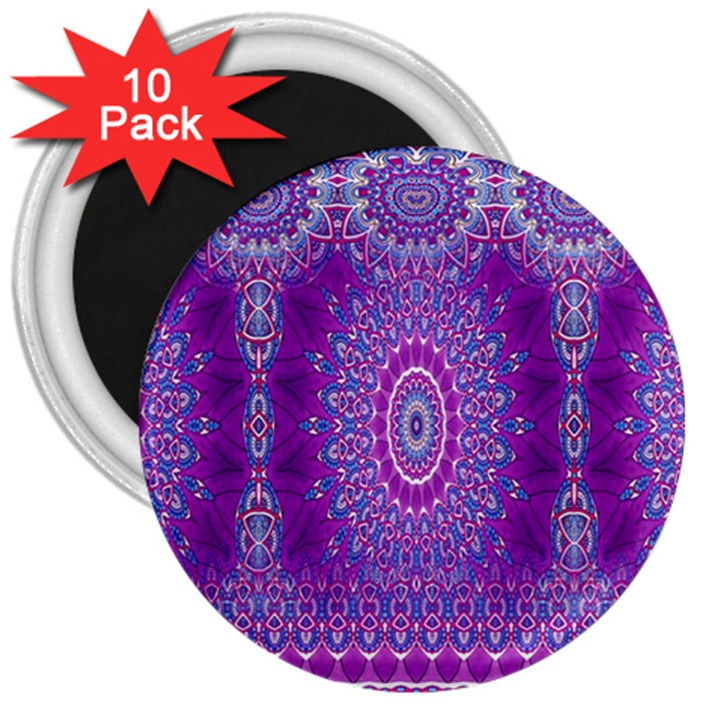 India Ornaments Mandala Pillar Blue Violet 3  Magnets (10 pack)