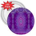 India Ornaments Mandala Pillar Blue Violet 3  Buttons (100 pack)  Front